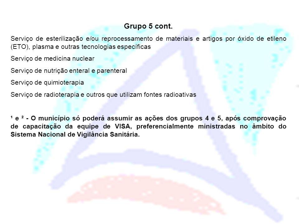 Grupo 5 cont. Serviço de esterilização e/ou reprocessamento de materiais e artigos por óxido de etileno (ETO), plasma e outras tecnologias específicas