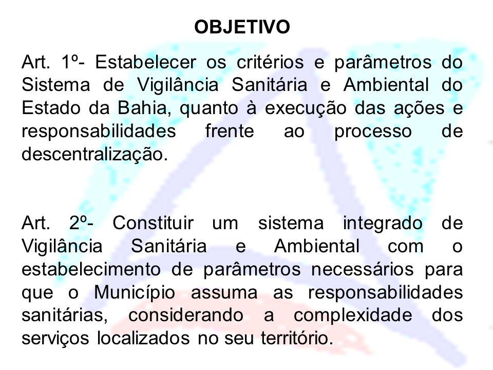 OBJETIVO Art. 1º- Estabelecer os critérios e parâmetros do Sistema de Vigilância Sanitária e Ambiental do Estado da Bahia, quanto à execução das ações