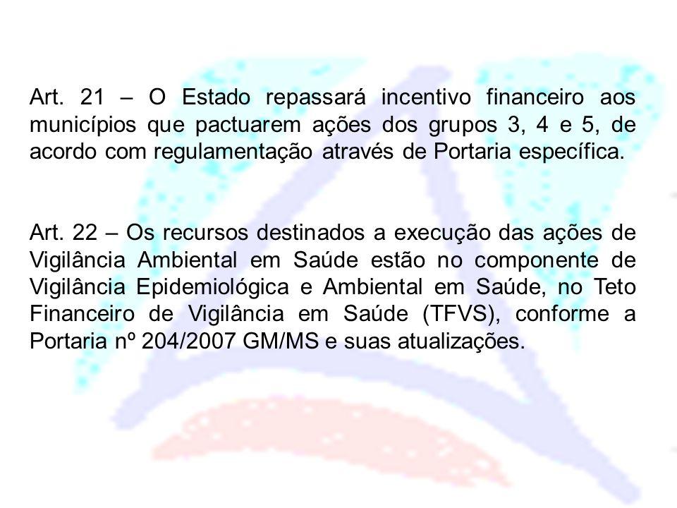 Art. 21 – O Estado repassará incentivo financeiro aos municípios que pactuarem ações dos grupos 3, 4 e 5, de acordo com regulamentação através de Port