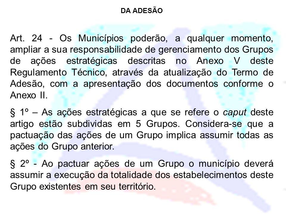 DA ADESÃO Art. 24 - Os Municípios poderão, a qualquer momento, ampliar a sua responsabilidade de gerenciamento dos Grupos de ações estratégicas descri