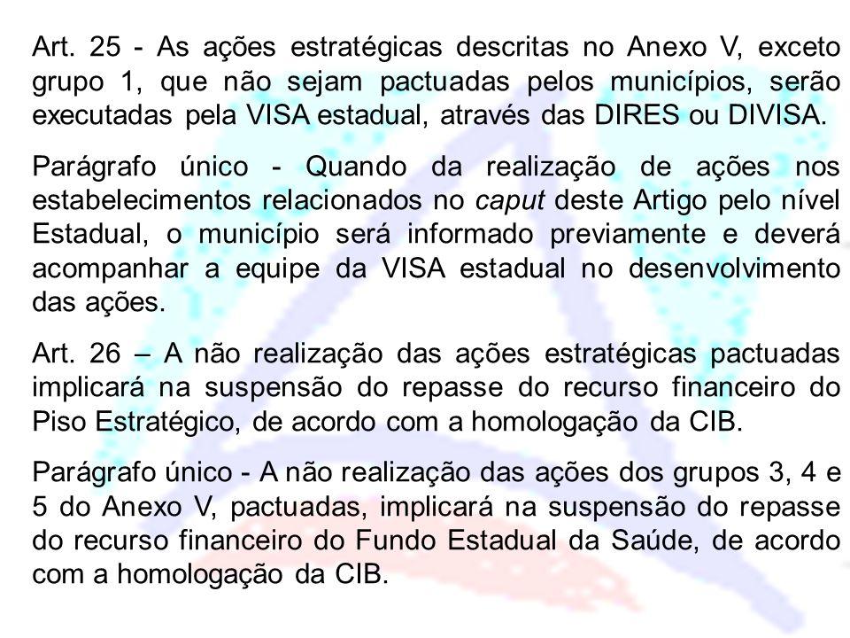 Art. 25 - As ações estratégicas descritas no Anexo V, exceto grupo 1, que não sejam pactuadas pelos municípios, serão executadas pela VISA estadual, a