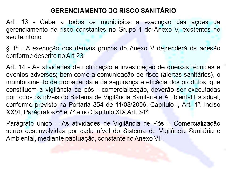 GERENCIAMENTO DO RISCO SANITÁRIO Art. 13 - Cabe a todos os municípios a execução das ações de gerenciamento de risco constantes no Grupo 1 do Anexo V,