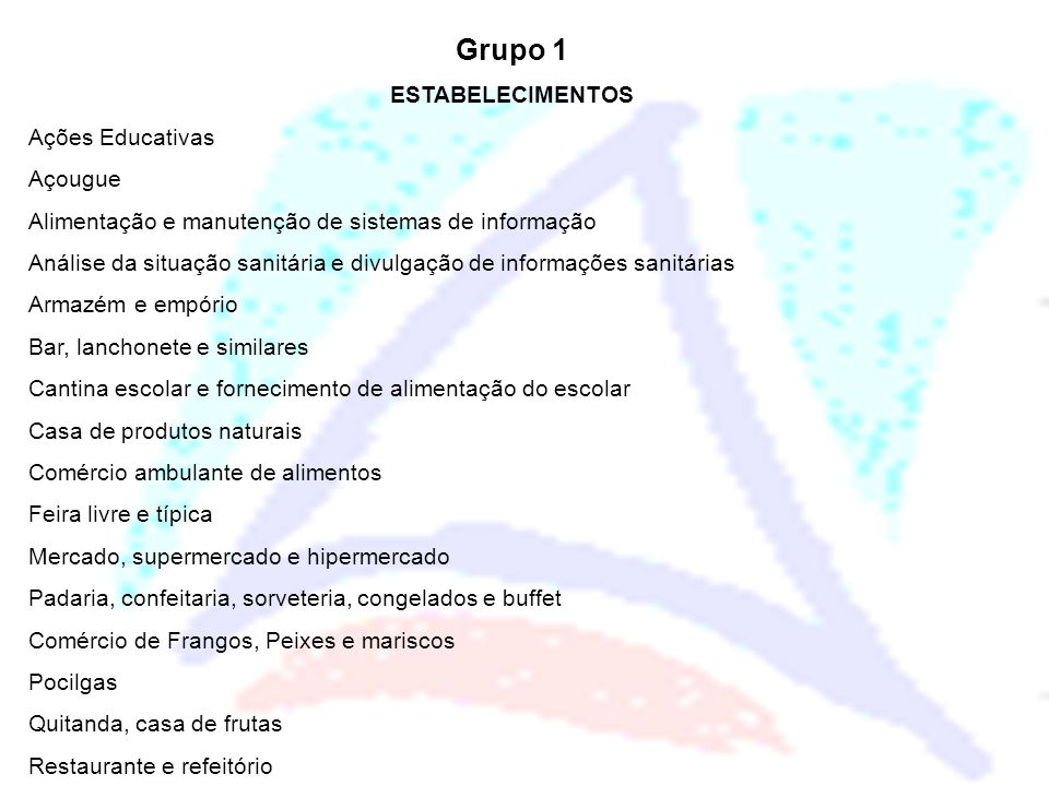 Grupo 1 ESTABELECIMENTOS Ações Educativas Açougue Alimentação e manutenção de sistemas de informação Análise da situação sanitária e divulgação de inf