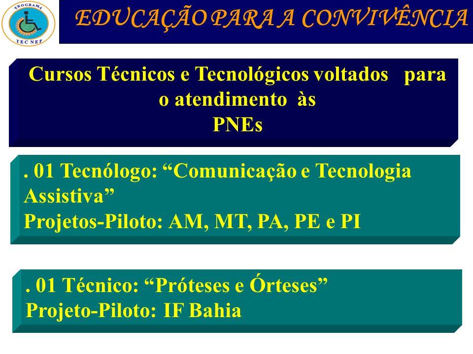 EDUCAÇÃO PARA A CONVIVÊNCIA Cursos Técnicos e Tecnológicos voltados para o atendimento às PNEs. 01 Tecnólogo: Comunicação e Tecnologia Assistiva Proje