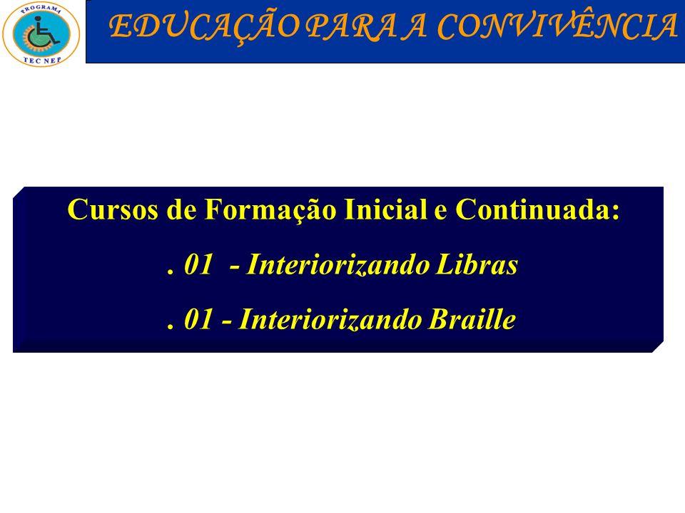 Cursos de Formação Inicial e Continuada:. 01 - Interiorizando Libras. 01 - Interiorizando Braille EDUCAÇÃO PARA A CONVIVÊNCIA