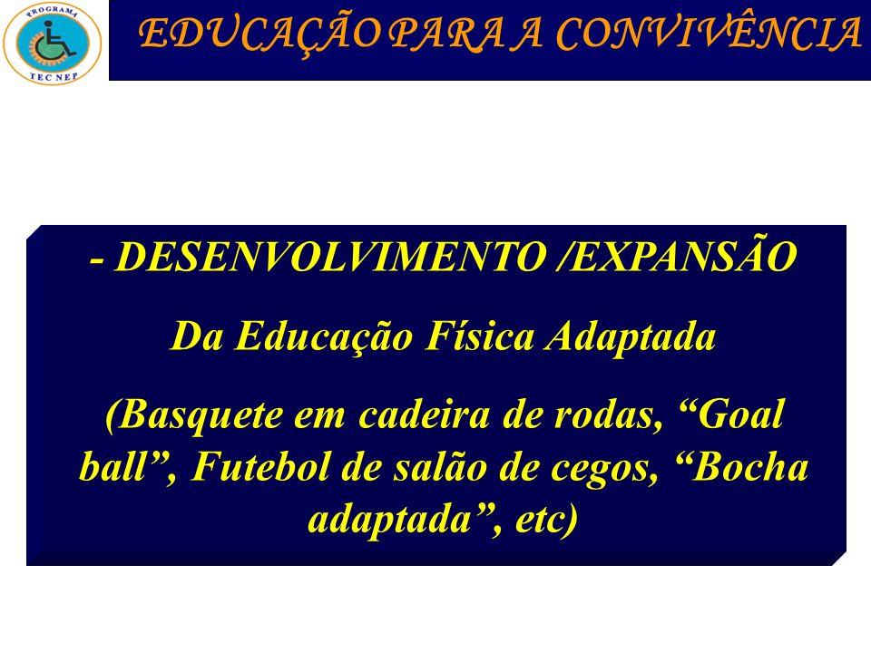 - DESENVOLVIMENTO /EXPANSÃO Da Educação Física Adaptada (Basquete em cadeira de rodas, Goal ball, Futebol de salão de cegos, Bocha adaptada, etc) EDUC