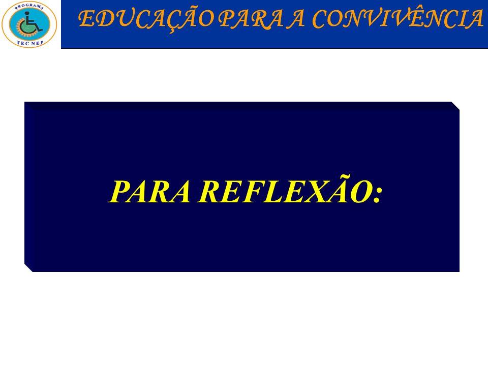 PARA REFLEXÃO: EDUCAÇÃO PARA A CONVIVÊNCIA