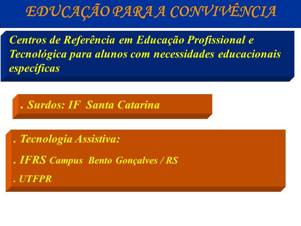 EDUCAÇÃO PARA A CONVIVÊNCIA Centros de Referência em Educação Profissional e Tecnológica para alunos com necessidades educacionais especiais.