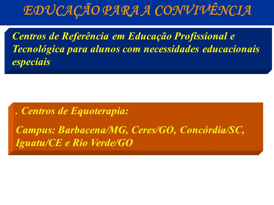 EDUCAÇÃO PARA A CONVIVÊNCIA Centros de Referência em Educação Profissional e Tecnológica para alunos com necessidades educacionais especiais. Centros