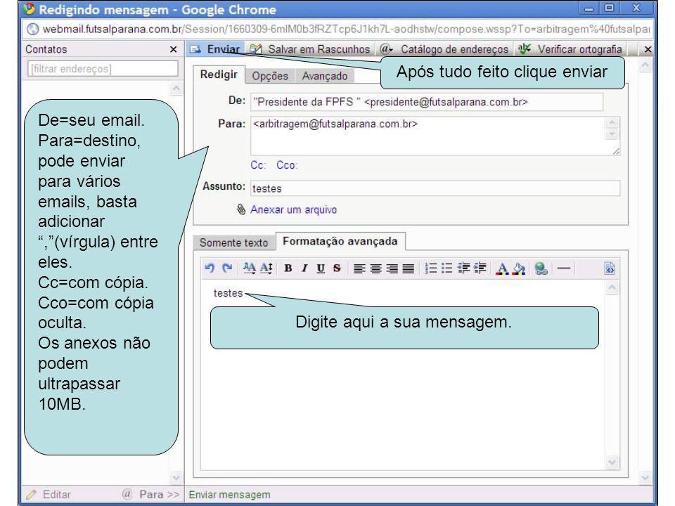 Aqui são as mensagens que tem em sua caixa/entrada/enviada/lixeira/spam Aqui é o corpo da mensagem quando selecionada no quadro acima.