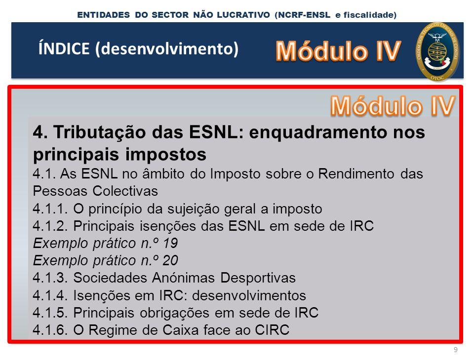 ENTIDADES DO SECTOR NÃO LUCRATIVO (NCRF-ENSL e fiscalidade) 40 RET.