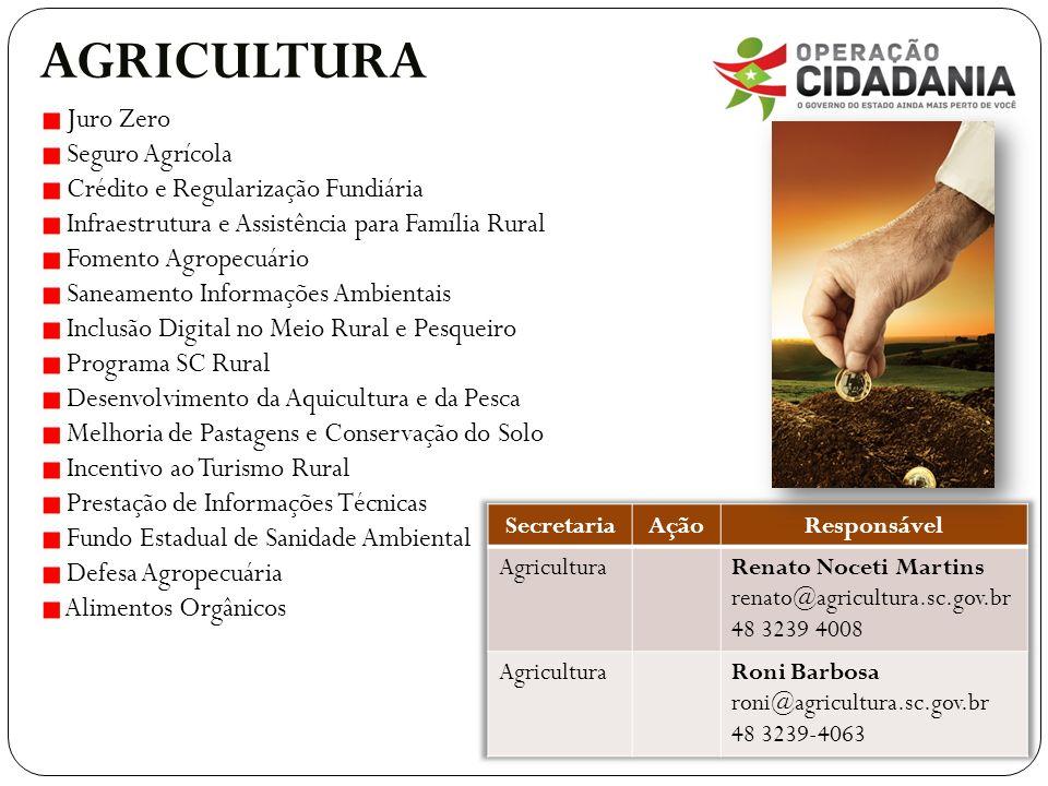 AGRICULTURA Juro Zero Seguro Agrícola Crédito e Regularização Fundiária Infraestrutura e Assistência para Família Rural Fomento Agropecuário Saneament