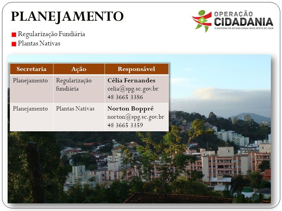 PLANEJAMENTO Regularização Fundiária Plantas Nativas