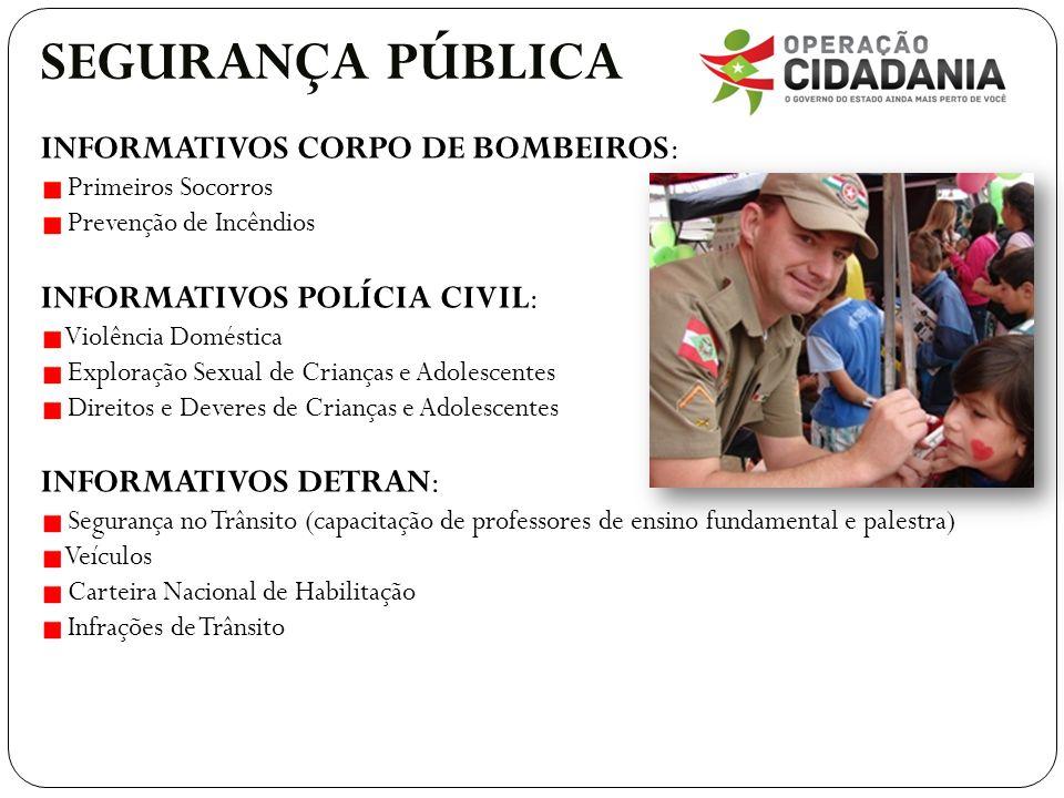 SEGURANÇA PÚBLICA INFORMATIVOS CORPO DE BOMBEIROS: Primeiros Socorros Prevenção de Incêndios INFORMATIVOS POLÍCIA CIVIL: Violência Doméstica Exploraçã
