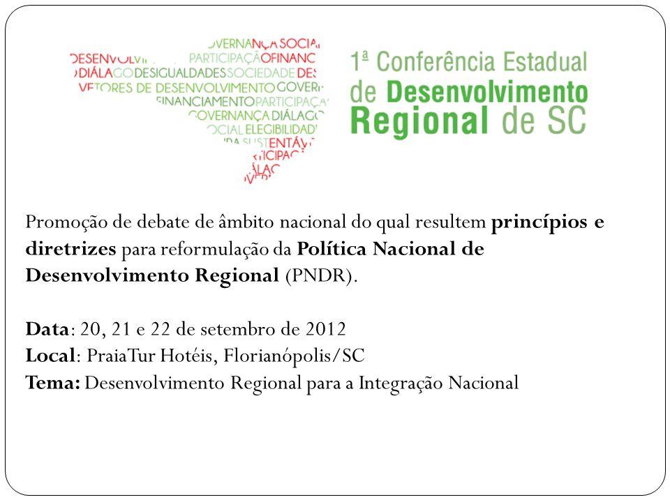 Promoção de debate de âmbito nacional do qual resultem princípios e diretrizes para reformulação da Política Nacional de Desenvolvimento Regional (PND