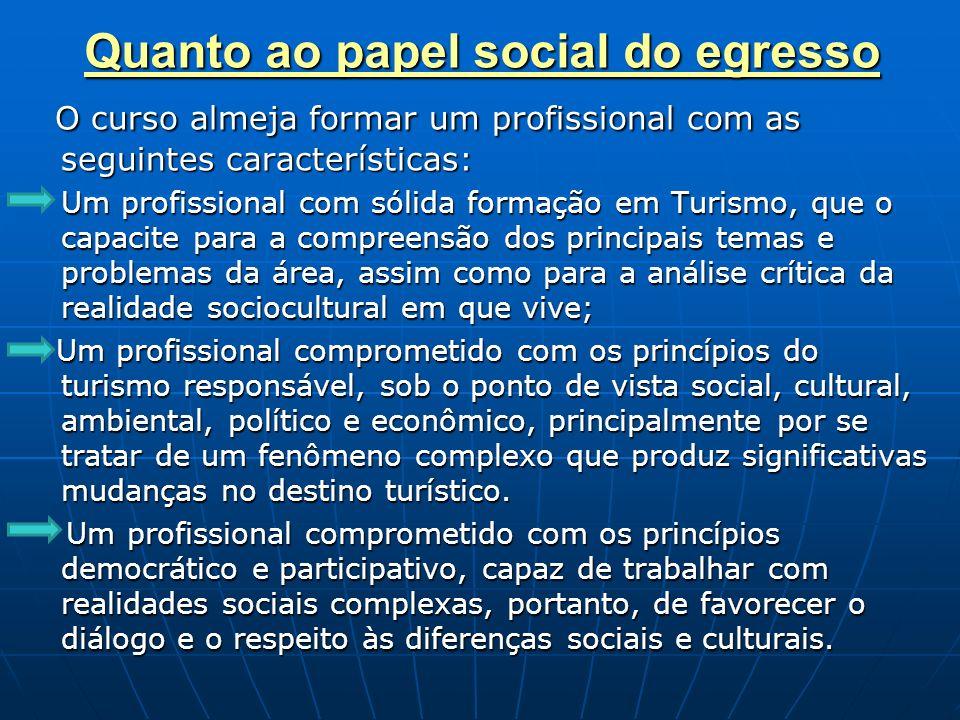 Quanto ao papel social do egresso O curso almeja formar um profissional com as seguintes características: O curso almeja formar um profissional com as