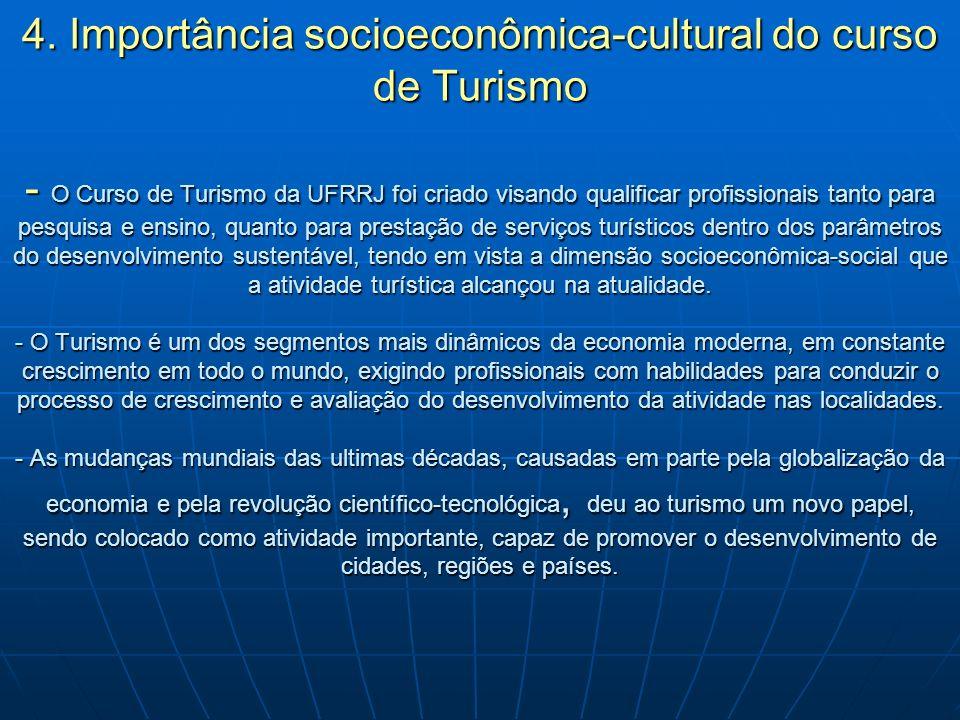 4. Importância socioeconômica-cultural do curso de Turismo - O Curso de Turismo da UFRRJ foi criado visando qualificar profissionais tanto para pesqui