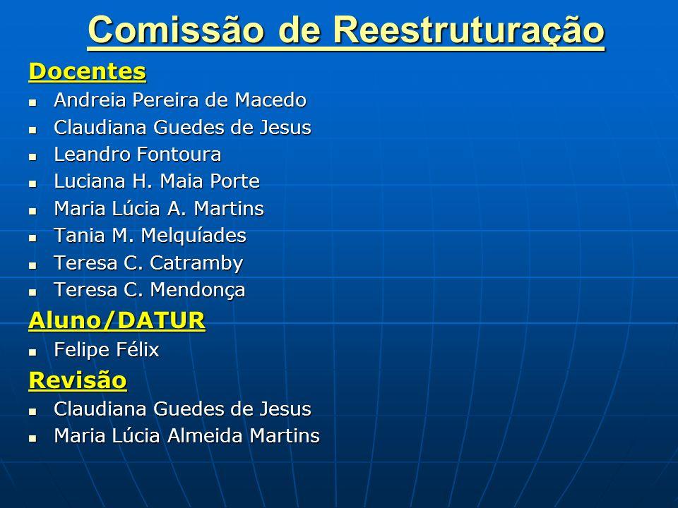Comissão de Reestruturação Docentes Andreia Pereira de Macedo Andreia Pereira de Macedo Claudiana Guedes de Jesus Claudiana Guedes de Jesus Leandro Fo