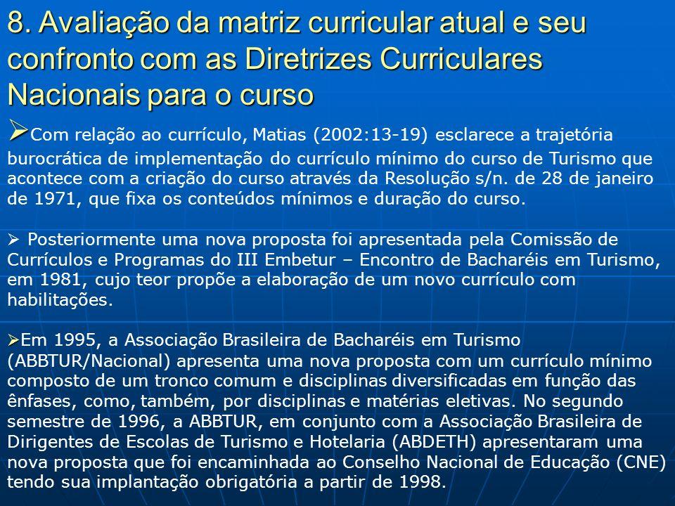 8. Avaliação da matriz curricular atual e seu confronto com as Diretrizes Curriculares Nacionais para o curso Com relação ao currículo, Matias (2002:1