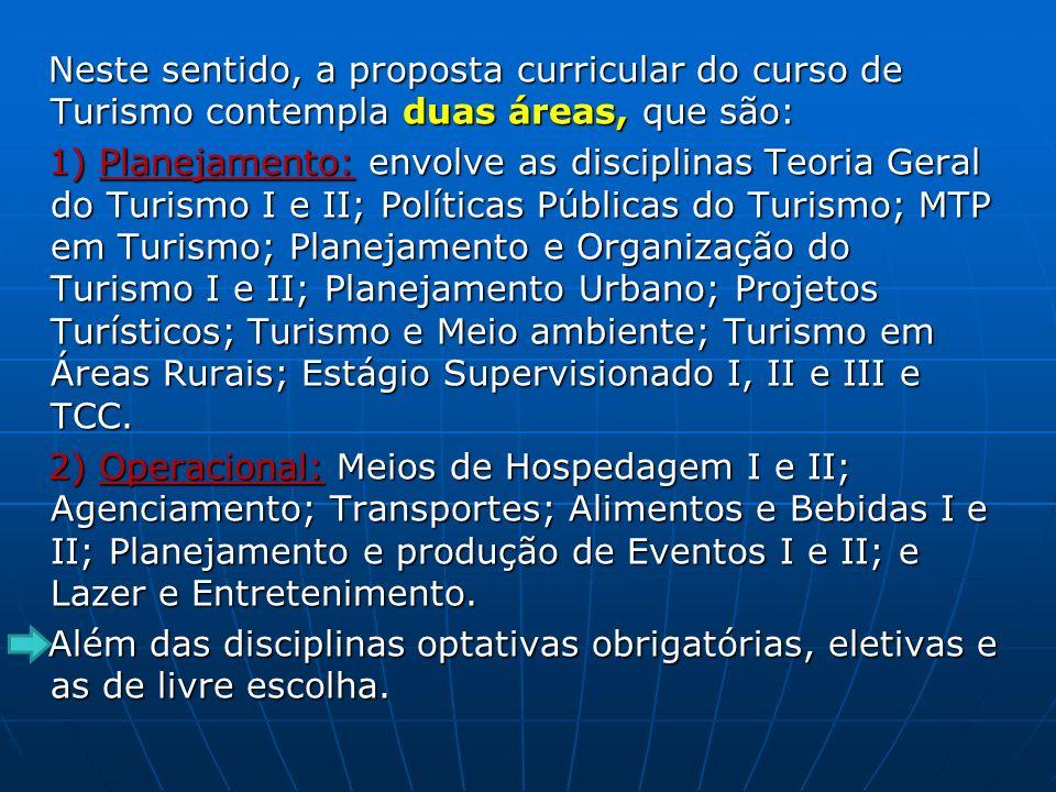 Neste sentido, a proposta curricular do curso de Turismo contempla duas áreas, que são: Neste sentido, a proposta curricular do curso de Turismo conte
