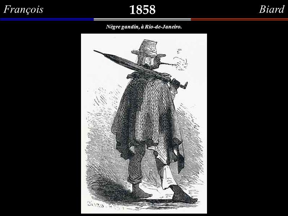 François Biard 1858 Negro com fumo na boca, segurando um guarda-chuva.