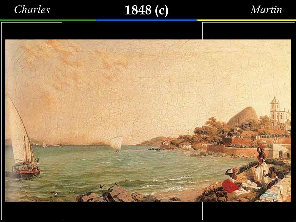 1848 (c) CharlesMartin Um grupo da lavadeiras, à beira-mar, na praia da Glória, secando roupas, observam uma falua que se aproxima.