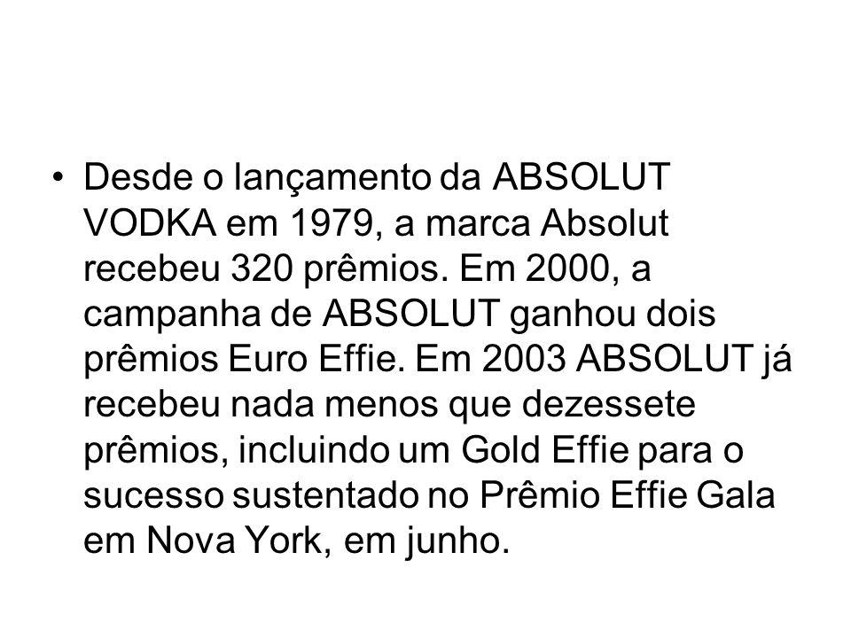 Desde o lançamento da ABSOLUT VODKA em 1979, a marca Absolut recebeu 320 prêmios. Em 2000, a campanha de ABSOLUT ganhou dois prêmios Euro Effie. Em 20