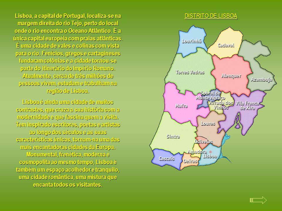 Lisboa, a capital de Portugal, localiza-se na margem direita do rio Tejo, perto do local onde o rio encontra o Oceano Atlântico.