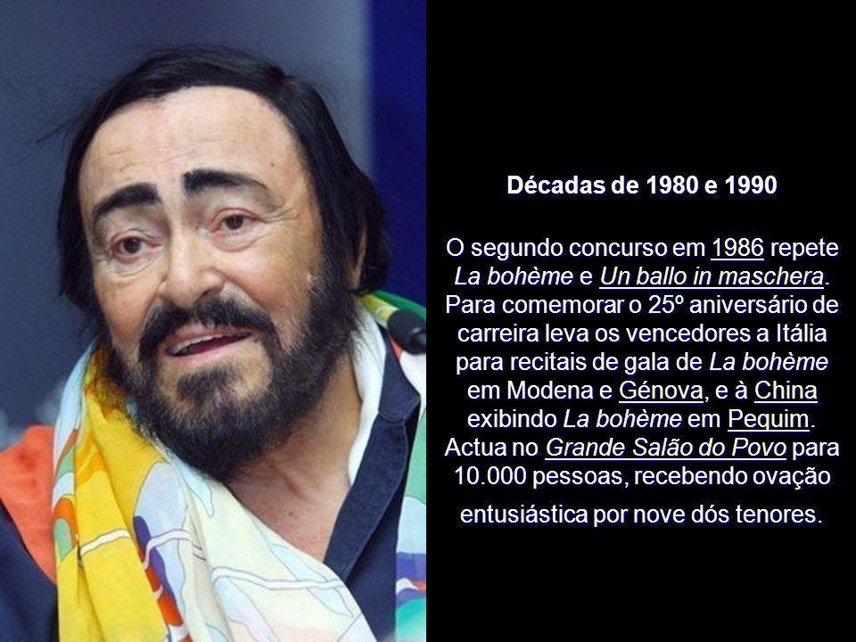 Décadas de 1980 e 1990 No início da década de 1980, lança The Pavarotti International Voice Competition para jovens cantores, cantando com os vencedor