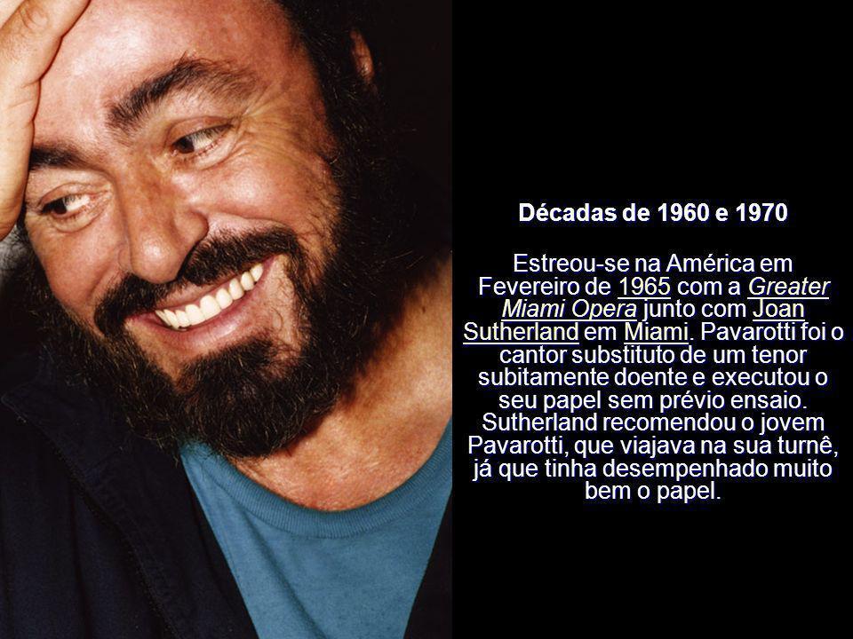 Décadas de 1960 e 1970 Pavarotti fez a sua estreia na ópera em 29 de Abril de 1961 no papel de Rodolfo de La bohème, em Reggio Emilia. 29 de Abril1961