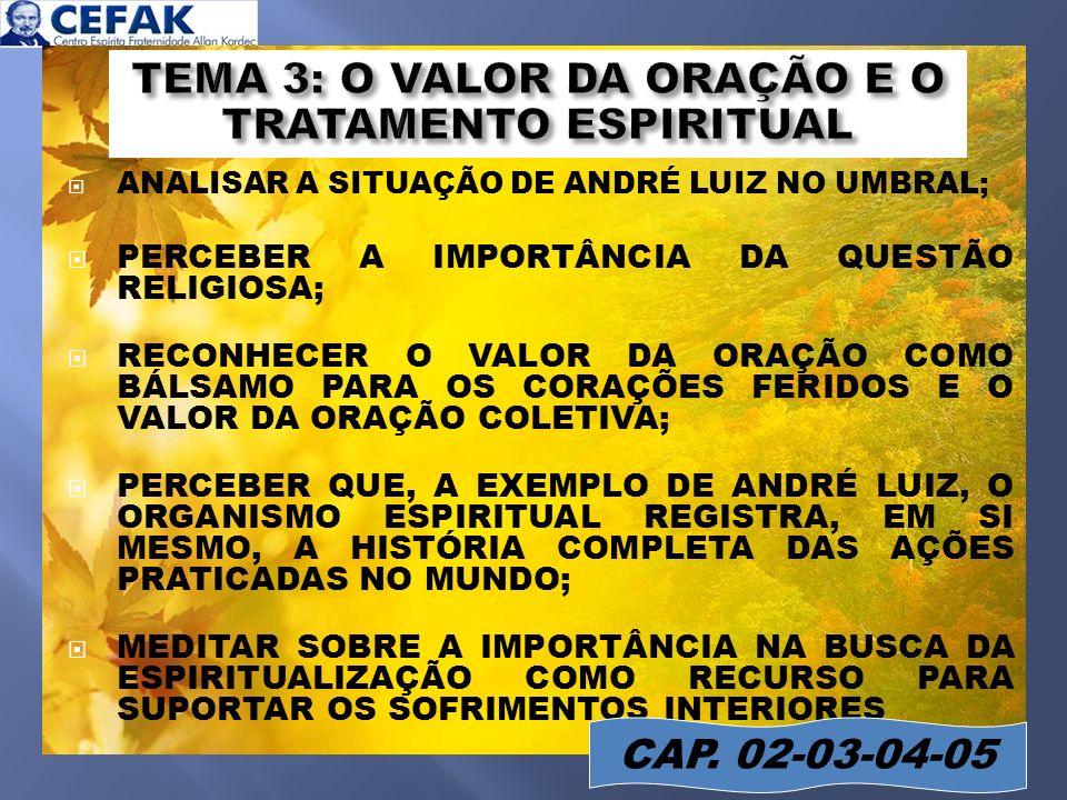 slide 16 ANALISAR A SITUAÇÃO DE ANDRÉ LUIZ NO UMBRAL; PERCEBER A IMPORTÂNCIA DA QUESTÃO RELIGIOSA; RECONHECER O VALOR DA ORAÇÃO COMO BÁLSAMO PARA OS C