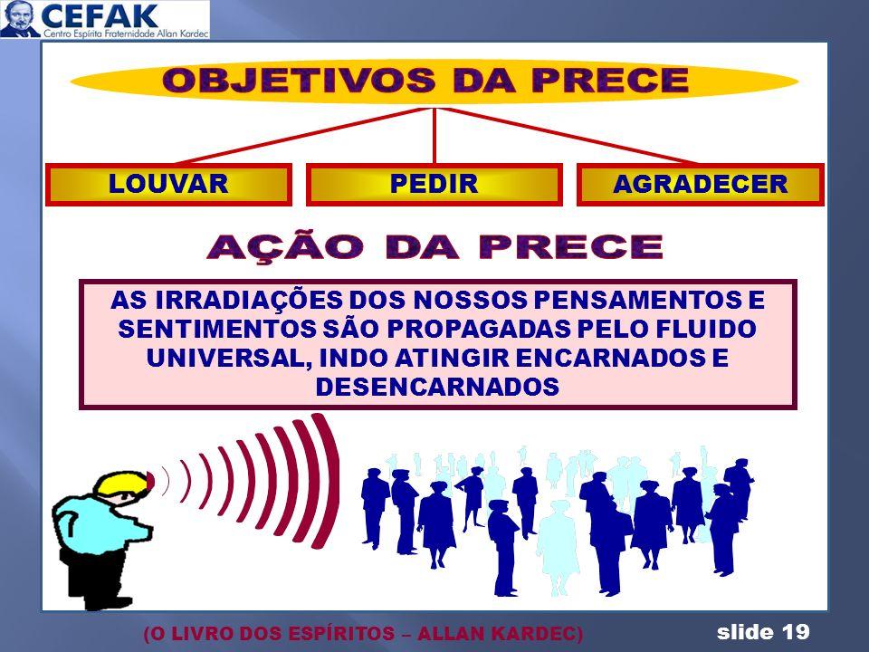 slide 19 AS IRRADIAÇÕES DOS NOSSOS PENSAMENTOS E SENTIMENTOS SÃO PROPAGADAS PELO FLUIDO UNIVERSAL, INDO ATINGIR ENCARNADOS E DESENCARNADOS LOUVARPEDIR