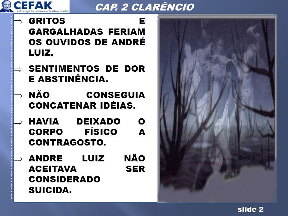 slide 2 GRITOS E GARGALHADAS FERIAM OS OUVIDOS DE ANDRÉ LUIZ. SENTIMENTOS DE DOR E ABSTINÊNCIA. NÃO CONSEGUIA CONCATENAR IDÉIAS. HAVIA DEIXADO O CORPO