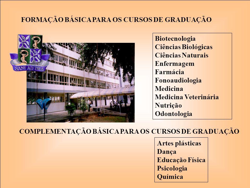 Biotecnologia Ciências Biológicas Ciências Naturais Enfermagem Farmácia Fonoaudiologia Medicina Medicina Veterinária Nutrição Odontologia FORMAÇÃO BÁS