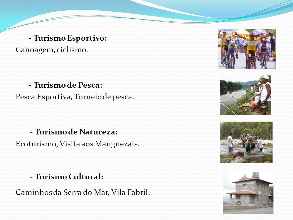 - Turismo Esportivo: Canoagem, ciclismo. - Turismo de Pesca: Pesca Esportiva, Torneio de pesca. - Turismo de Natureza: Ecoturismo, Visita aos Mangueza