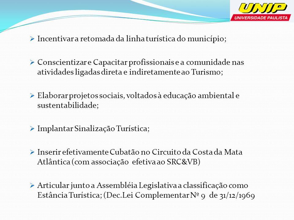 Incentivar a retomada da linha turística do município; Conscientizar e Capacitar profissionais e a comunidade nas atividades ligadas direta e indireta