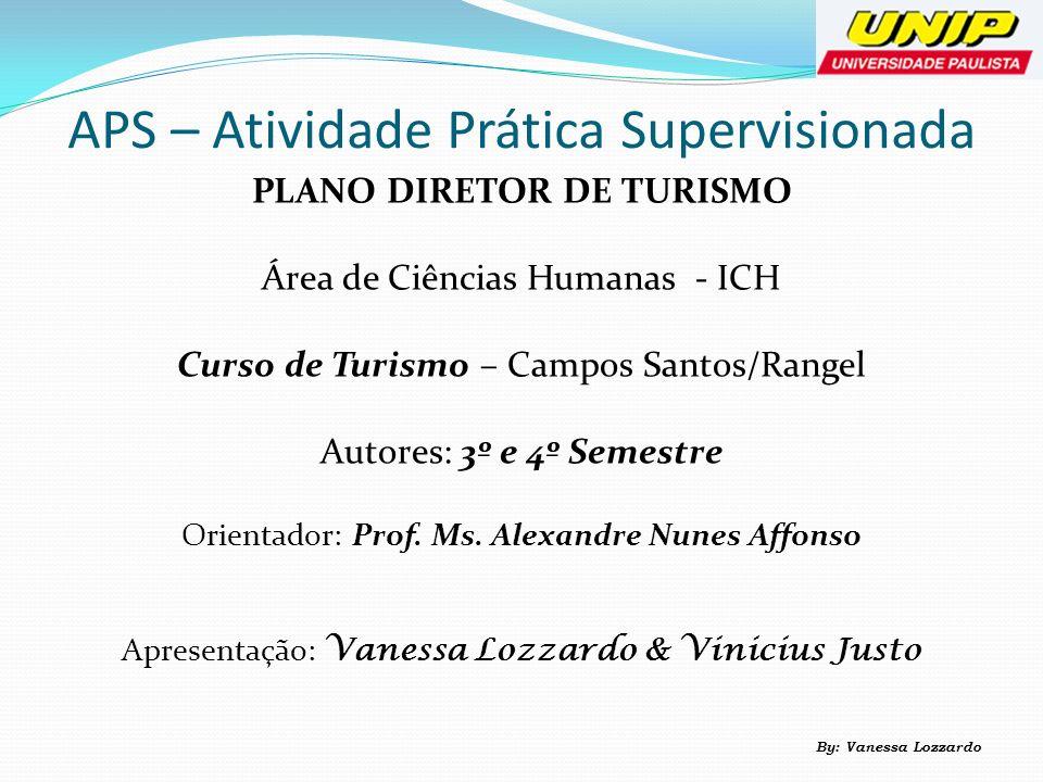 APS – Atividade Prática Supervisionada PLANO DIRETOR DE TURISMO Área de Ciências Humanas - ICH Curso de Turismo – Campos Santos/Rangel Autores: 3º e 4