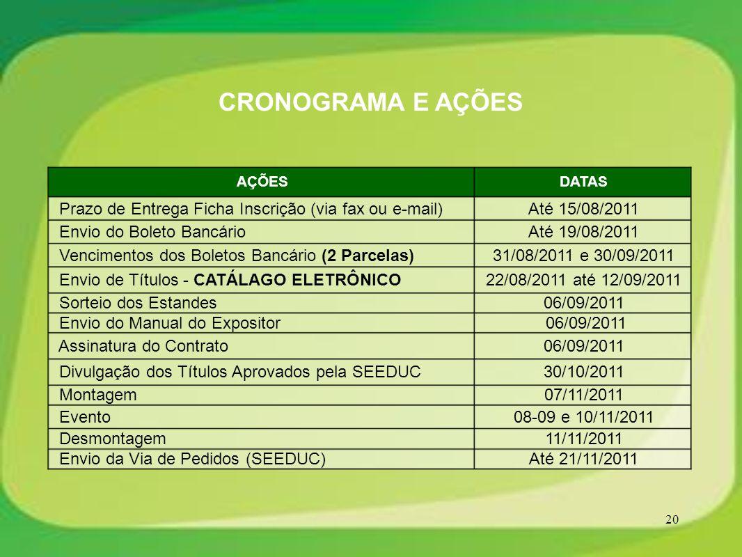 20 CRONOGRAMA E AÇÕES 06/09/2011 Assinatura do Contrato Até 15/08/2011 Prazo de Entrega Ficha Inscrição (via fax ou e-mail) Até 19/08/2011 Envio do Bo