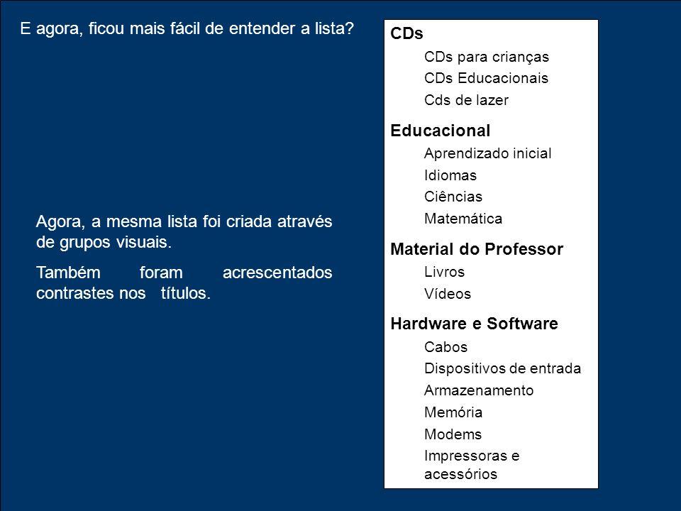 E agora, ficou mais fácil de entender a lista? CDs CDs para crianças CDs Educacionais Cds de lazer Educacional Aprendizado inicial Idiomas Ciências Ma
