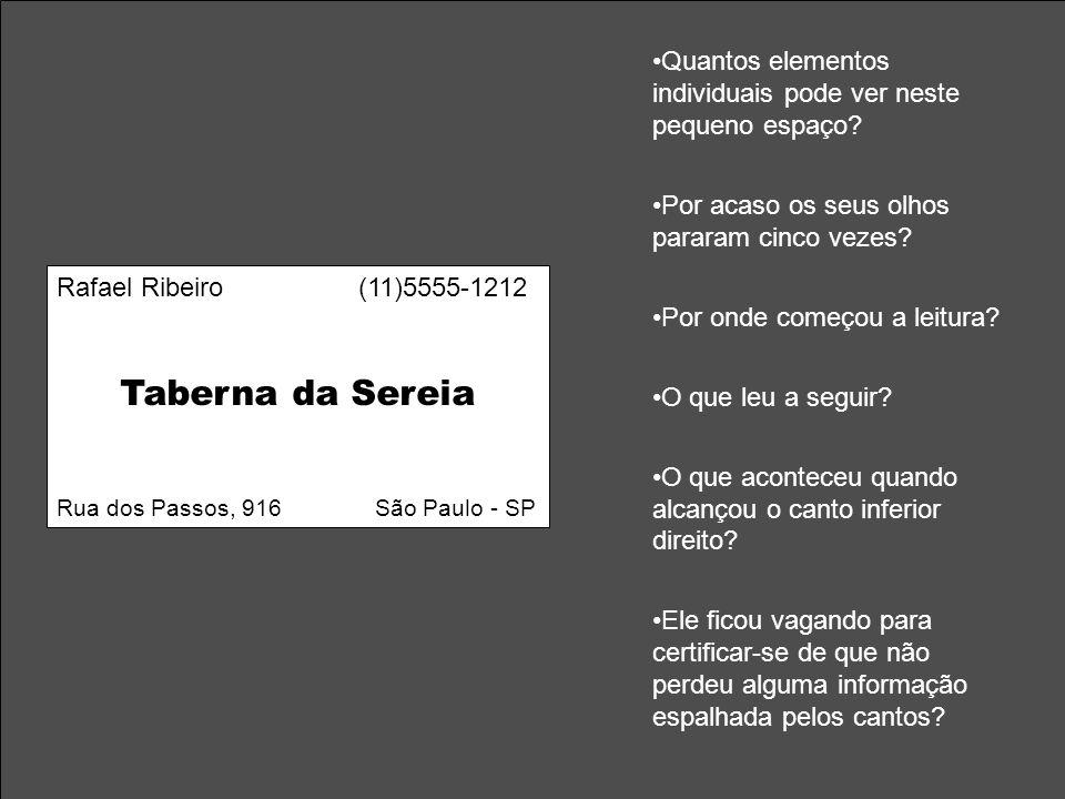 Rafael Ribeiro (11)5555-1212 Taberna da Sereia Rua dos Passos, 916 São Paulo - SP Quantos elementos individuais pode ver neste pequeno espaço? Por aca