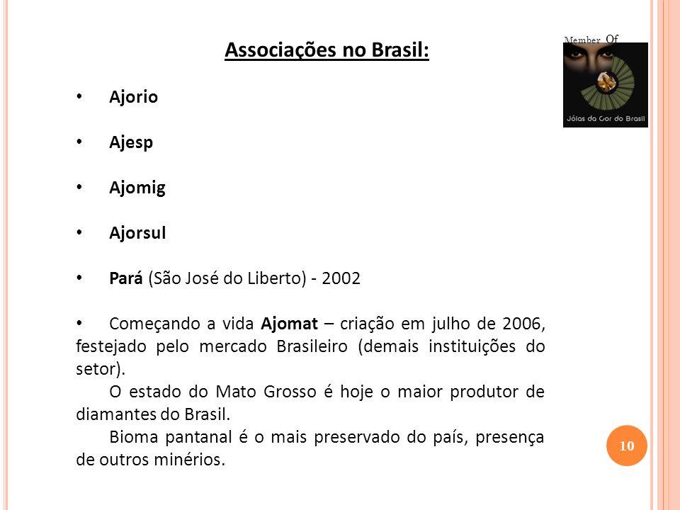 10 Member Of Associações no Brasil: Ajorio Ajesp Ajomig Ajorsul Pará (São José do Liberto) - 2002 Começando a vida Ajomat – criação em julho de 2006,