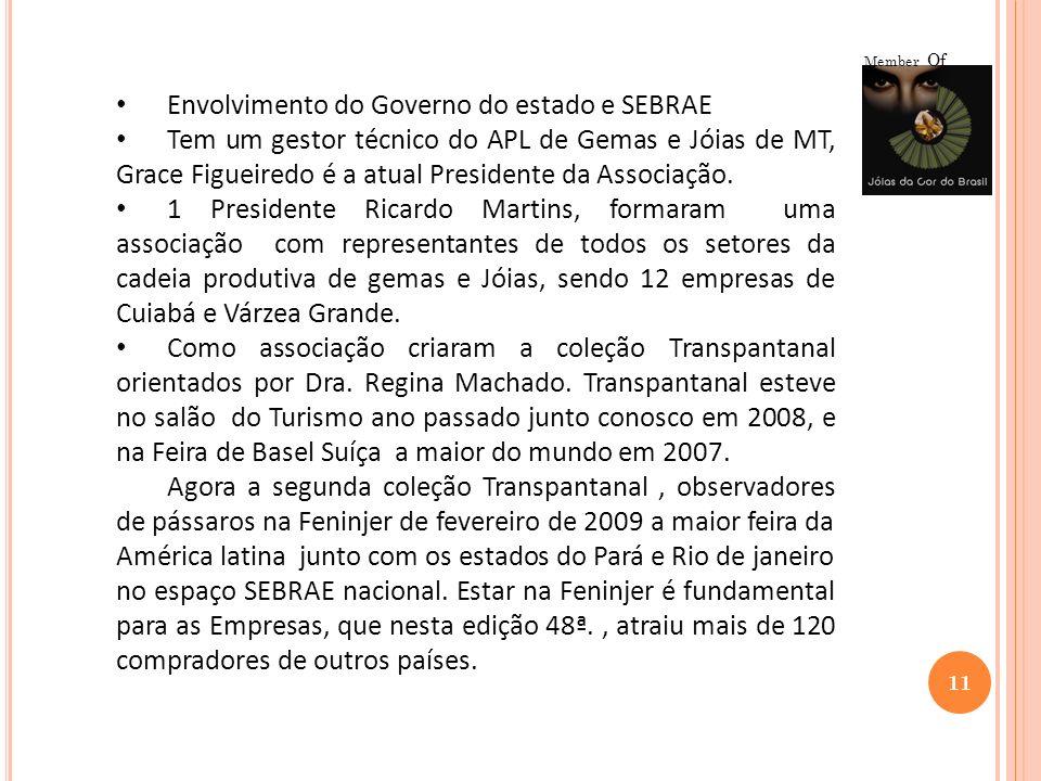11 Member Of Envolvimento do Governo do estado e SEBRAE Tem um gestor técnico do APL de Gemas e Jóias de MT, Grace Figueiredo é a atual Presidente da