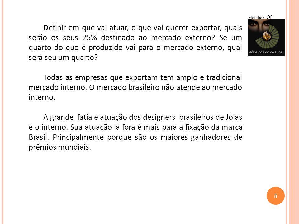 5 Member Of Definir em que vai atuar, o que vai querer exportar, quais serão os seus 25% destinado ao mercado externo? Se um quarto do que é produzido