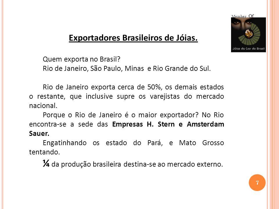 7 Member Of Exportadores Brasileiros de Jóias. Quem exporta no Brasil? Rio de Janeiro, São Paulo, Minas e Rio Grande do Sul. Rio de Janeiro exporta ce