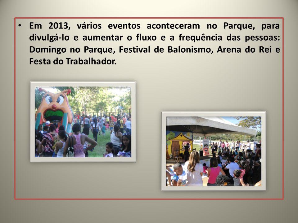 Em 2013, vários eventos aconteceram no Parque, para divulgá-lo e aumentar o fluxo e a frequência das pessoas: Domingo no Parque, Festival de Balonismo