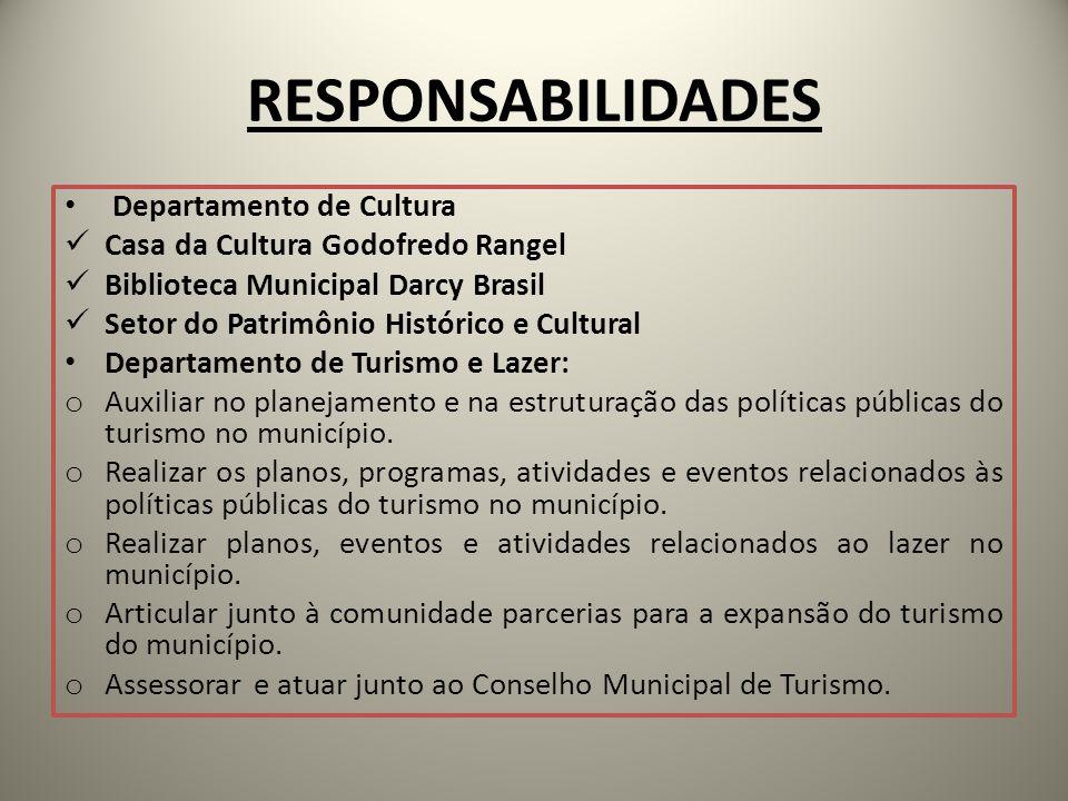 RESPONSABILIDADES Departamento de Cultura Casa da Cultura Godofredo Rangel Biblioteca Municipal Darcy Brasil Setor do Patrimônio Histórico e Cultural