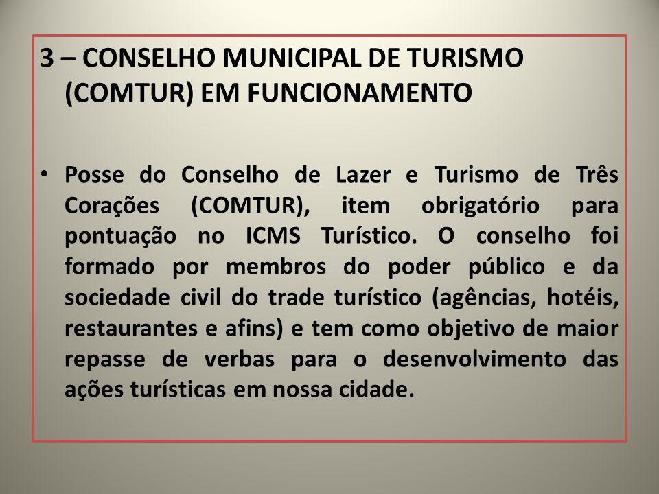 3 – CONSELHO MUNICIPAL DE TURISMO (COMTUR) EM FUNCIONAMENTO Posse do Conselho de Lazer e Turismo de Três Corações (COMTUR), item obrigatório para pont