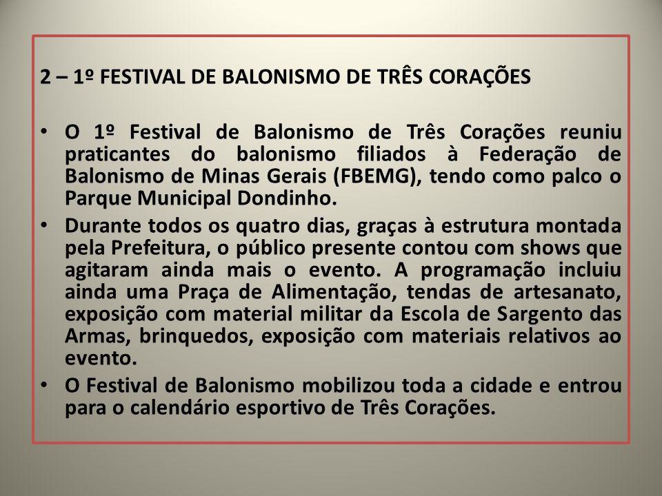 2 – 1º FESTIVAL DE BALONISMO DE TRÊS CORAÇÕES O 1º Festival de Balonismo de Três Corações reuniu praticantes do balonismo filiados à Federação de Balo