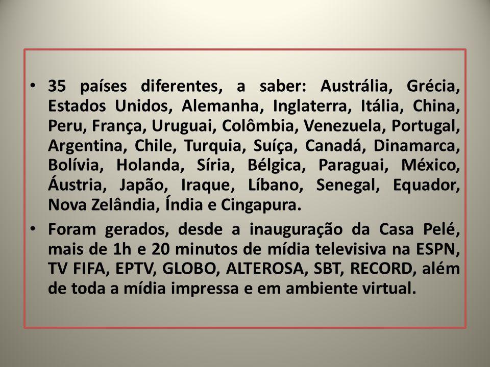 35 países diferentes, a saber: Austrália, Grécia, Estados Unidos, Alemanha, Inglaterra, Itália, China, Peru, França, Uruguai, Colômbia, Venezuela, Por
