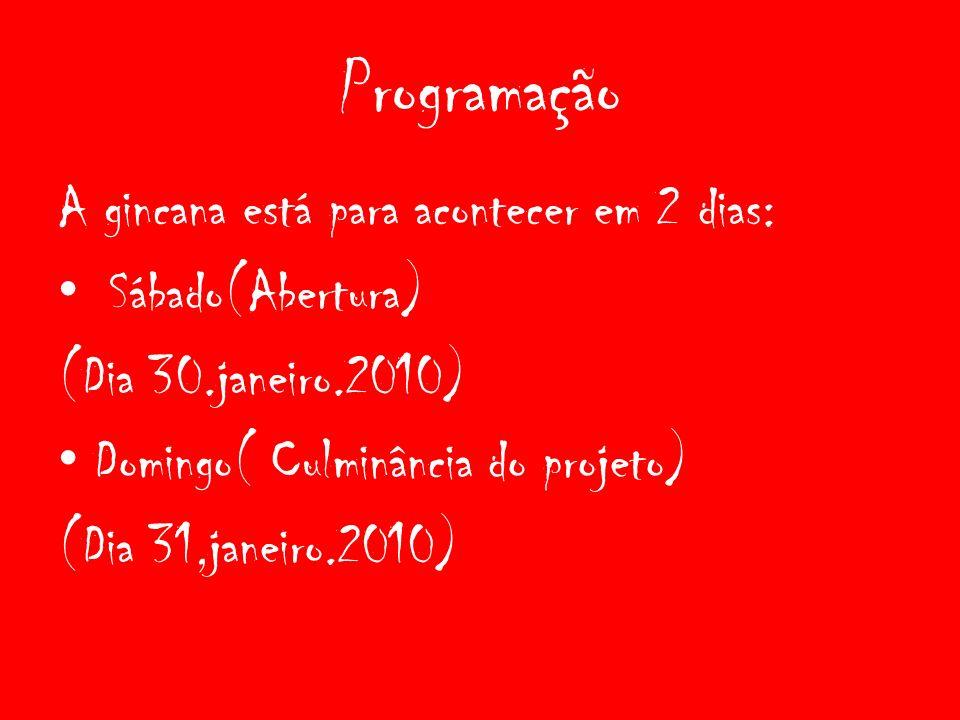 Programação A gincana está para acontecer em 2 dias: Sábado(Abertura) (Dia 30.janeiro.2010) Domingo( Culminância do projeto) (Dia 31,janeiro.2010)